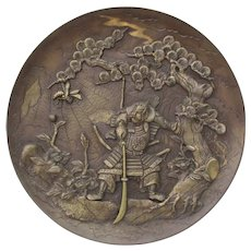 Meiji Bronze Charger Samurai and Hornet Fighting