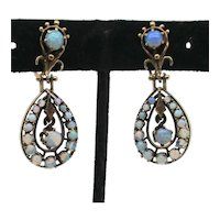 Vintage 1950s' 14Kt. Gold and Opal Earrings