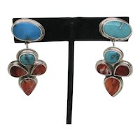 Oscar Betz Navajo Sterling Earrings Vintage 70s'-80s'