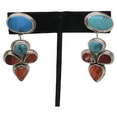 Oscar Betz Navajo Sterling Earrings Vintage 70s'-80s'