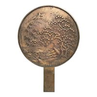 Antique Meiji Japanese Bronze  Hand Mirror