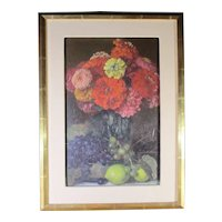 1930s Vintage George Leroux Floral Still Life Painting