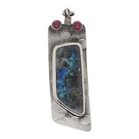 Black Opal and Ruby Sterling  Silver Pendant