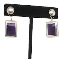 Sterling Silver and Chariot Drop Earrings on Posts.
