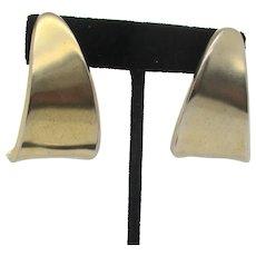 Mid-Century Curved Gilt Hoop Earrings