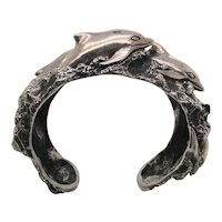 Kabana Dolphins in Waves Sterling Silver Cuff