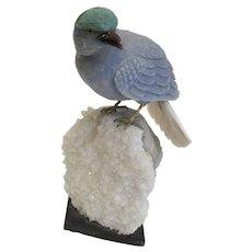 Finely Carved Semi-Precious Stone  Bird