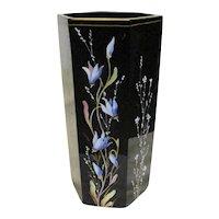 Antique French Black Enameled Vase