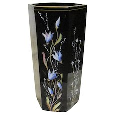 Antique French Black Enameled Vase