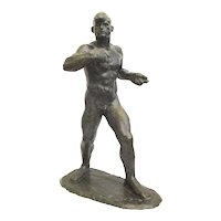 Gori Art Deco Bronze Boxer by Georges Gori Circa 1930s'