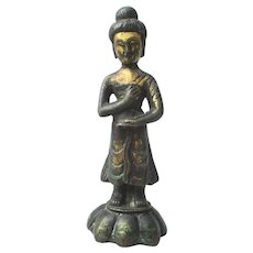 Antique Sino-Tibetan  Bronze Standing Buddha 19th century