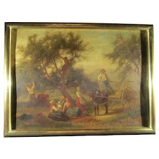 Early 19th century Pastoral Family Scene on Panel