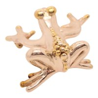 1980s Large Form Sterling  Silver 925 Frog Pin