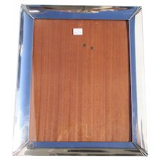 Sterling Silver PhotoFrame with Festooned Corners and Oak Body