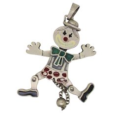 Italian Mobil Sterling Pendant With Enamel Highlights