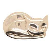 1960s Sleeping Kitty Silver Pin