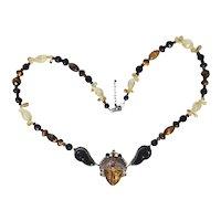 Sajen 1960s' Bejeweled Goddess and Sterling Necklace