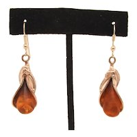Amber and Sterling Teardrop Earrings
