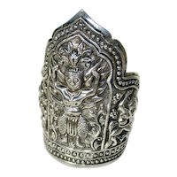 Silver Repousse Thai Design Cuff