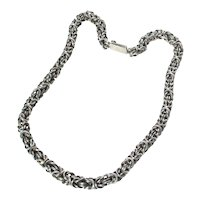 Handmade Sterling Silver Chain With Heavy Cable Knit Form