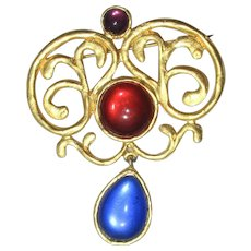 Vibrant Jeweled Pin Signed Duplaise Vintage 1990s