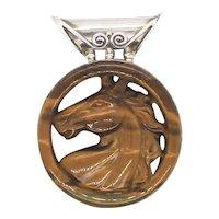 1960s Tiger Eye Horse Head Pendant by Sajen