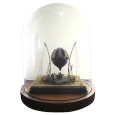 Antique Venetian Balloon Diorama 19th century Bell Jar Mounting
