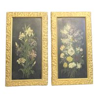 Antique Art Nouveau Japanned Floral Panels