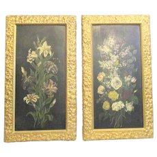 Antique Art Nouveau Japanned Floral Panels