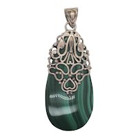 Malachite and Sterling Pendant Teardrop
