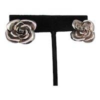 Silver Rose Post Back Earrings