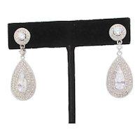 Faux Diamond and Metal Drop Earrings