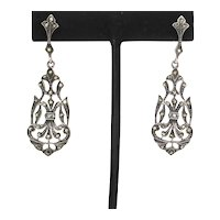 Marcasite  and Sterling Silver Drop on Posts Earrings