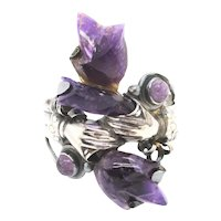 Sterling and Amethyst Cuff Vintage Mexico