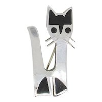 Mid-Century Sterling Cat Pin