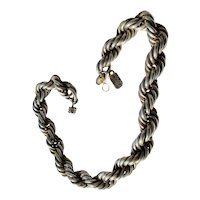 Mexican Double Rope Braid  Sterling Silver 925 Necklace