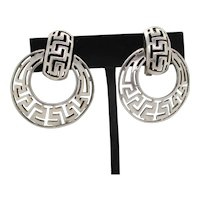 Mid-Century Sterling Silver Greek Key Clip-on Earrings