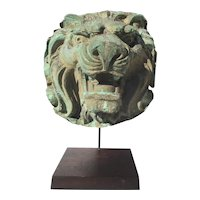Lion Head Early 20th Century Vintage Copper Repouse Architectural Detail