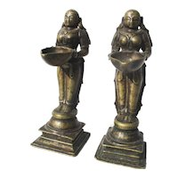 South Indian Bronze Deepalakshmi Devotional Lamps 17th Century