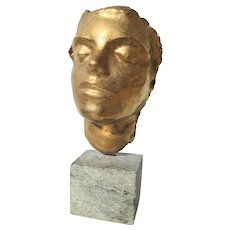 1950s Vintage Irma Rothstein Gold Cracklure Glaze Face Sculpture