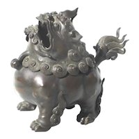 Chinese Ching Bronze Foo Dog Incense Burners 19th century