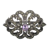 Marcasite and Amethyst Pin