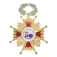 Order of Isabella  Catholic Bronze and Enamel Award Jewelry
