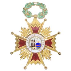 Order of Isabella  Catholic Bronze and Enamel Award Jewelry