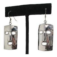 Sterling Silver Mask Drop Earrings
