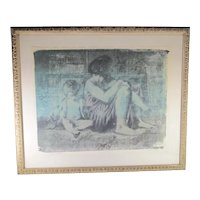 "Arthur Lidov Unique Print ""Mother and Child III ""  Vintage 1980s'"
