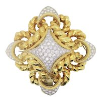 18kt. Yellow Gold and White Gold with Diamonds Brooch-Pendant