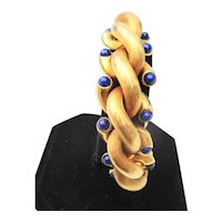 Weingrill 18Kt Yellow Gold and Lapis Bracelet