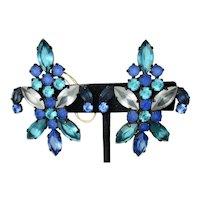 J L Blin Fleur De Lis Colored Crystals Clip on Earrings