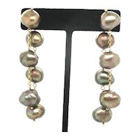 Baroque Chocolate  Pearl Dangle Gold Earrings on Chain  18 Kt. Yellow Gold Posts
